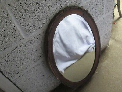 vintage oval wood framed mirror A, around 30 & ½