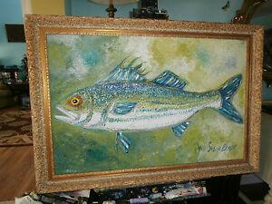 Original-Oil-Painting-by-Ann-Susan-Elmer-Striper-Fish ...