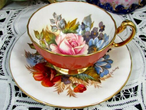 AYNSLEY SIGNED BAILEY FLOWERS SALMON OBAN TEA CUP AND SAUCER