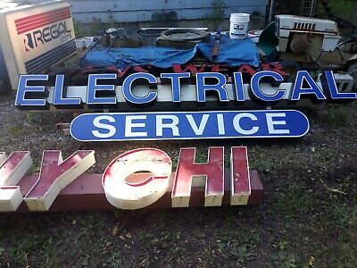 Commercial Plumbing Electrical Service Sign Lighted Two Pieces 23 Feet 10.5 In
