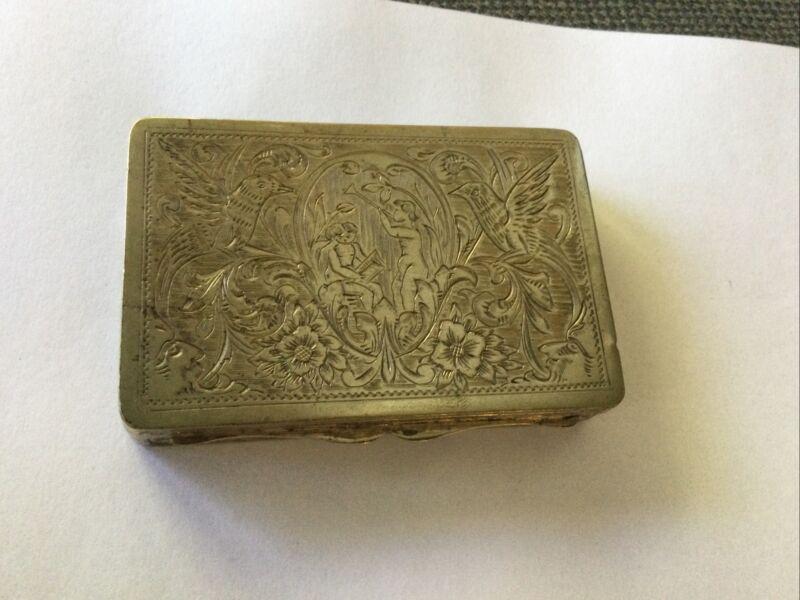 Antique 800 Silver Snuff Box Cherubs 72 grams
