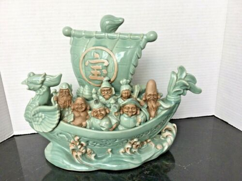 Vintage Chinese Celedon Dragon Boat with 7 Immortals