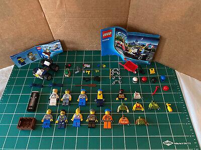 Lot Of 9 Lego Minifigures, Cops, Coast Guards, Surfer, Ninjago, Helmets,