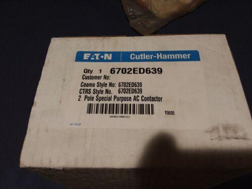 EATON CUTLER HAMMER 6702ED639 Special Purpose 2 Pole AC Contactor Coamo CTRS