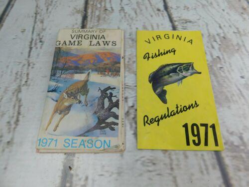 Vintage 1971 Virginia Fishing Regulations  & Game Laws