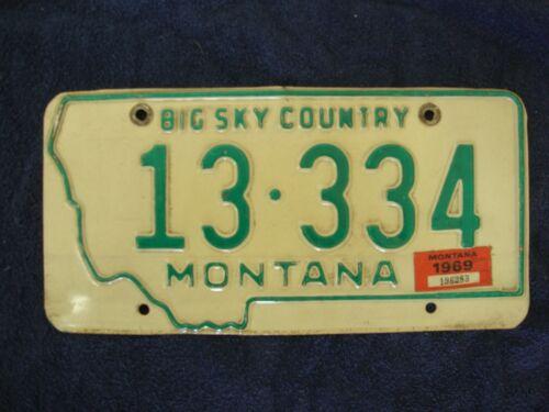 1969 Montana Big sky country license plate 13-334 good original condition