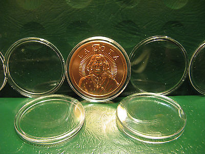 "100 Copper/Silver Round Capsules 39MM snaplock acrylic ""Protect Your Investment"""