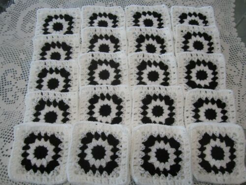 "***30-6"" CROCHETED GRANNY SQUARES*AFGHAN AFGHANS**FLOWER CENTER BLACK AND WHITE"