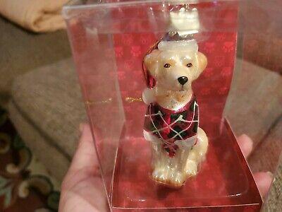 Kurt Adler Labrador Retriever Dog w/Santa Hat Glass Christmas Tree Ornament NIB
