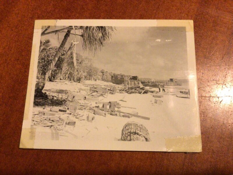 Original GI Photo Of Debris On Shore From Invasion In The Pacific