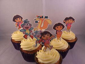 12 Dora the Explorer *WAFER* Edible Cupcake Cake Toppers *Standups*