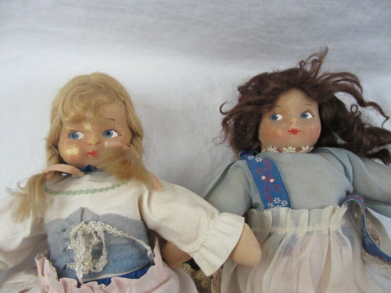 "2 Lot - vintage 14"" Cloth Made Dolls with Flocked Faces, Dutch German Dress"