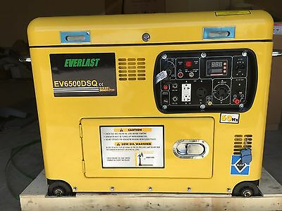 "NEW 2017 Everlast Super Quiet DIESELGenerator ""Open Top"" 6.5KW Remote Start"