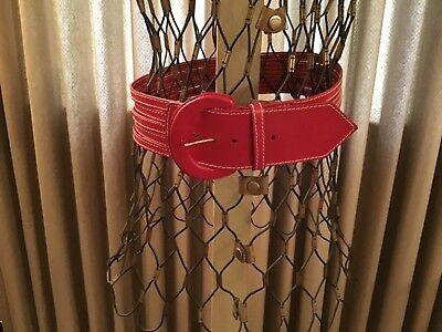 """Vintage 1990s Wide Red Leather fashion belt 2 1/4""""wide  32"""" fit  Mexican leather"""
