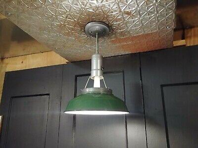 "VTG Green Porcelain Enamel Light Fixture - Industrial Art Deco Pendant 12"""