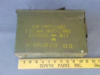 VINTAGE 7.62mm NATO 200 CARTRIDGE 7.62 M13 AMMO BOX