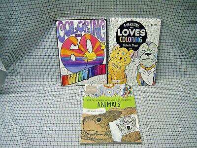 Lot of 3 Adult Coloring Books The Sixty's Cats Dogs Animals Crayons Pencil Ink