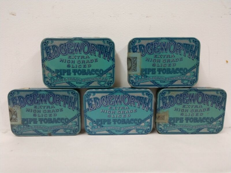 Lot of 5 Vintage Edgeworth Extra High Grade Sliced Pipe Tobacco Tin