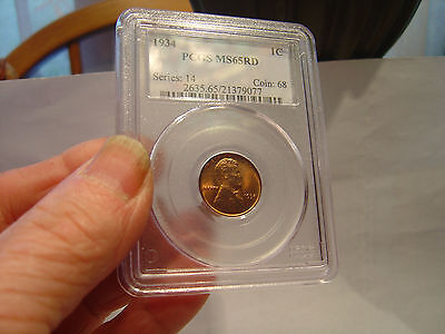 1934 PCGS MS65 RD  LINCOLN WHEAT CENT  GEM UNCIRCULATED