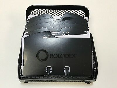 Rolodex Card File Black Mesh Open Business Card File 125-cards 2-14 X 4