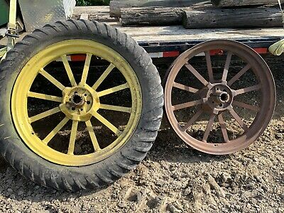 John Deere Early Styled B Factory Flat Spoke Wheel Wheels Rare Bn Bw