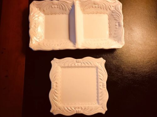 2 D'Lusso Designs Couture Porcelain SERVE-WARE 2 SECTION PLATE & CHEESE DISH New