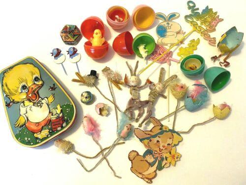 VTG Lot Of Easter Pipe Cleaner Bunnies Chicks Eggs & Horner's Candy Tin 1950s