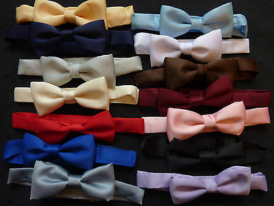 QUALITY BOYS/CHILDRENS SATIN FINISH  BOW TIES ON A BAND -lots of colours Satin Boys Band