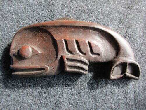 NORTHWEST COAST DESIGNED WHALE PLAQUE, HAND CARVED      WY-01838