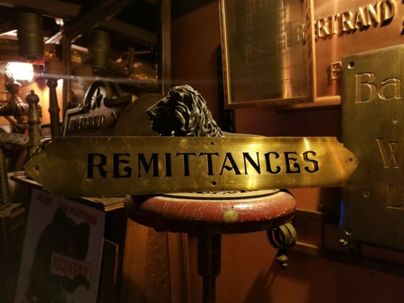 Antique REMITTANCES Early 20thC Banking Brass Plaque