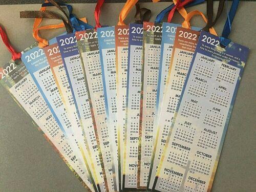 Lot 12 New 2022 Calendar Bookmark Four Bible Verses Leaflet Christian + Ribbons