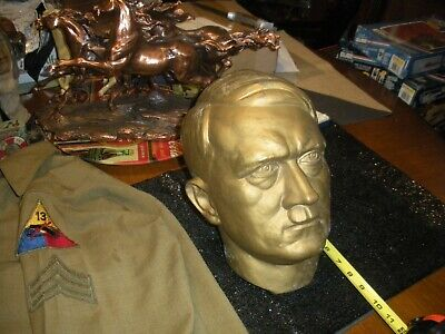 Adolf Hitler Bronze-Gilt Over Zinc Bust / Head [Original] (Life Size)