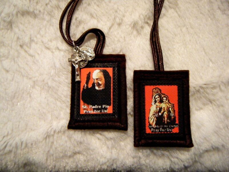Padre Pio Brown Scapular Red Background Handmade 100% Wool Catholic Approved