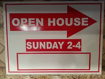 Lot Of 5 Red And White Open House Signs Sunday 2-4pm Bulk 18 X 24 Corrugated
