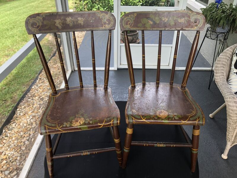 Pair Antique Early 19th Century Original Paint Decorated Child's Windsor Chairs