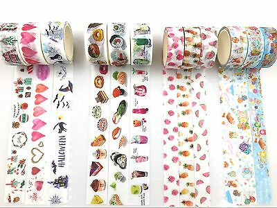 3 rolls Festival Food Fruit Dessert Cake Candy Lollipop Halloween Washi tape Set