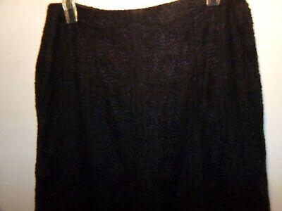 HAROLD'S Black Lace Midi Skirt Cotton/Nylon Lined  A-Line Women's Size 8 VGC