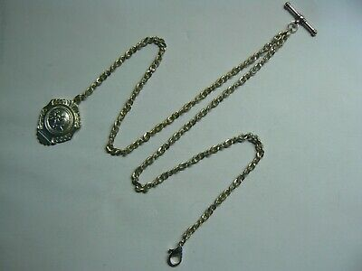 NICE VINTAGE SILVER PLATED ALBERT POCKET WATCH CHAIN &ORIGINAL SILVER PLATED FOB