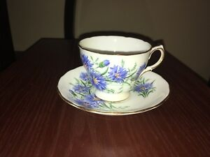 Royal Vale Blue Flower pattern teacup and saucer set