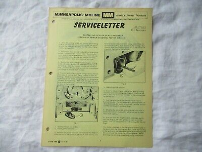 Minneapolis Moline G1000 Tractor Teflon Seal Power Steering Newletter Brochure