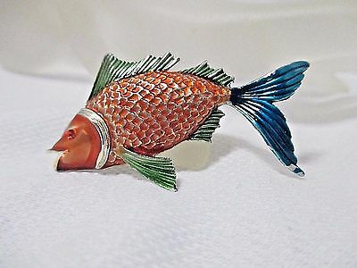 Vintage Gold Tone Jj Jonette Orange Blue   Green Enamel Fish Brooch Pin