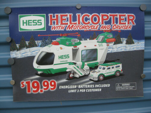 Hess Truck Advertisement Poster Sign Helicopter with Cruiser & Motorcycle