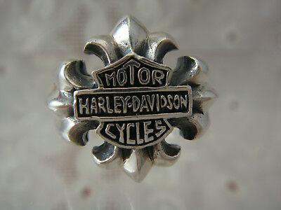 VINTAGE MOTOR HARLEY DAVIDSON CYCLES STERLING SILVER CREST BIKER RING SIZE 12