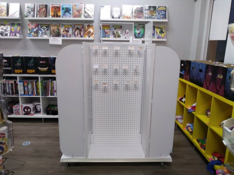 Retail 4 Sided Rolling Gondola With Pegboard And Sign Fixture.