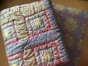 Brand New Duckling Log Cabin Baby Quilt w/wrapping paper