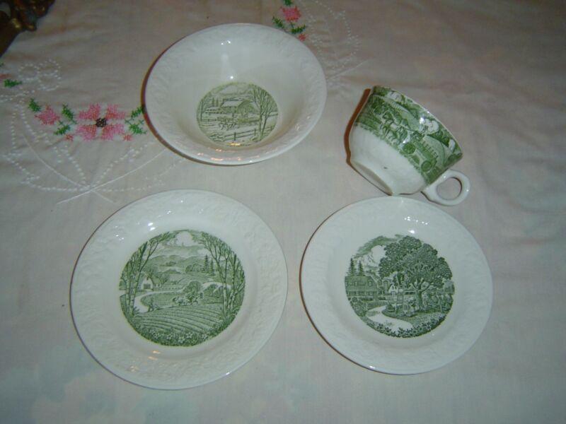 Vintage 4 Pc. Breakfast Set - OATMEAL Preimum Dishes - PASTORAL - GREAT DEAL