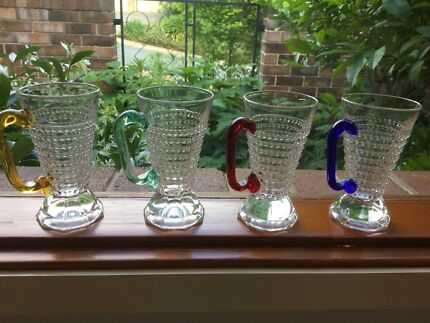 Antique Pressed Glass Cups with coloured handles
