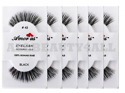 AmorUs 100% Human Hair False Eyelashes #43 (pack of 6 Pairs) compare Red Cherry