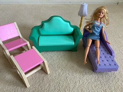 Barbie Furniture Lot. Assorted Living Room, chaise, sofa, rocker and lamp