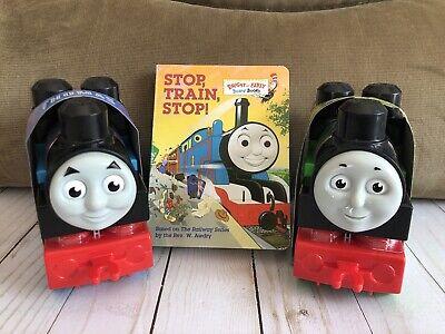 Thomas The Train Stop Train Stop Board Book + 2 Mega Blocks Toy Trains Kids Play